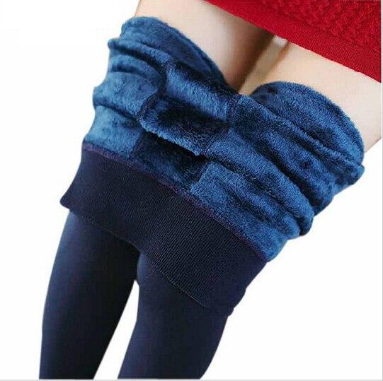 2015 New Fashion 7 colors High Quality Women Autumn Winter Warm Thick Elastic Fitness Slim Velvet Leggings Leggins Pants Trouser