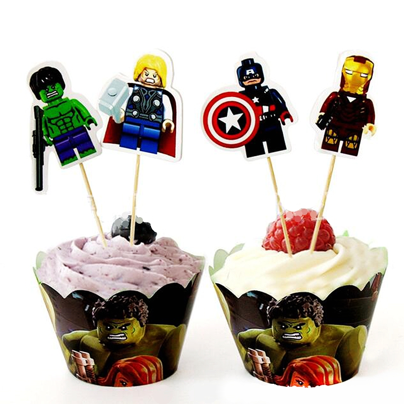 Tremendous Cupcake Wrappers Superhero Avengers Spiderman Cake Toppers Funny Birthday Cards Online Unhofree Goldxyz