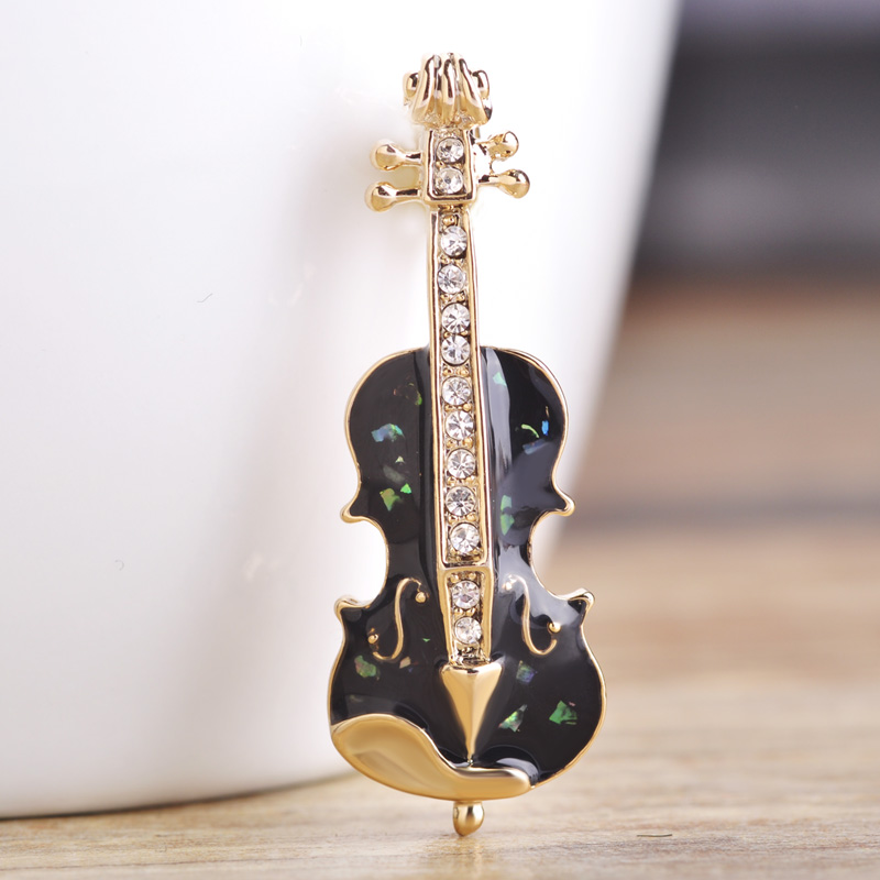 Blucome 10 pc/1 set Enamel Abalone Shell Violin Shape Brooches For Women Men Suit Broach Collar Pins Jewelry Free Shipping Gifts