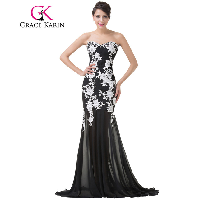 c5149c8663 Grace Karin Elegant White Lace Evening Dresses 2017 Luxury Sweetheart  Appliques Black Formal Long Mermaid Evening Dresses Gowns