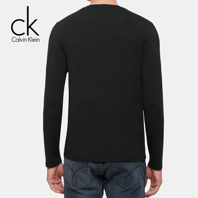 Calvin Klein Jeans / CK 2017 Fall Men's Long Sleeve T-Shirt Men New O-Neck Slim Cotton Casual Bottoming Shirt Letter Print Tops