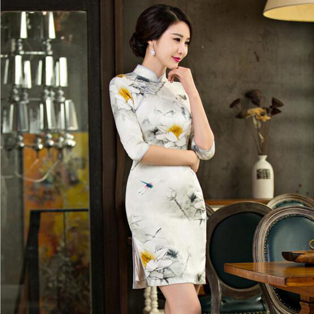 Chinese Style Qipao Women s Satin Cheongsam Qipao Cotton Silk Short Dress  China Oriental Dresses Traditional Chinese f84e4cfd6c1a