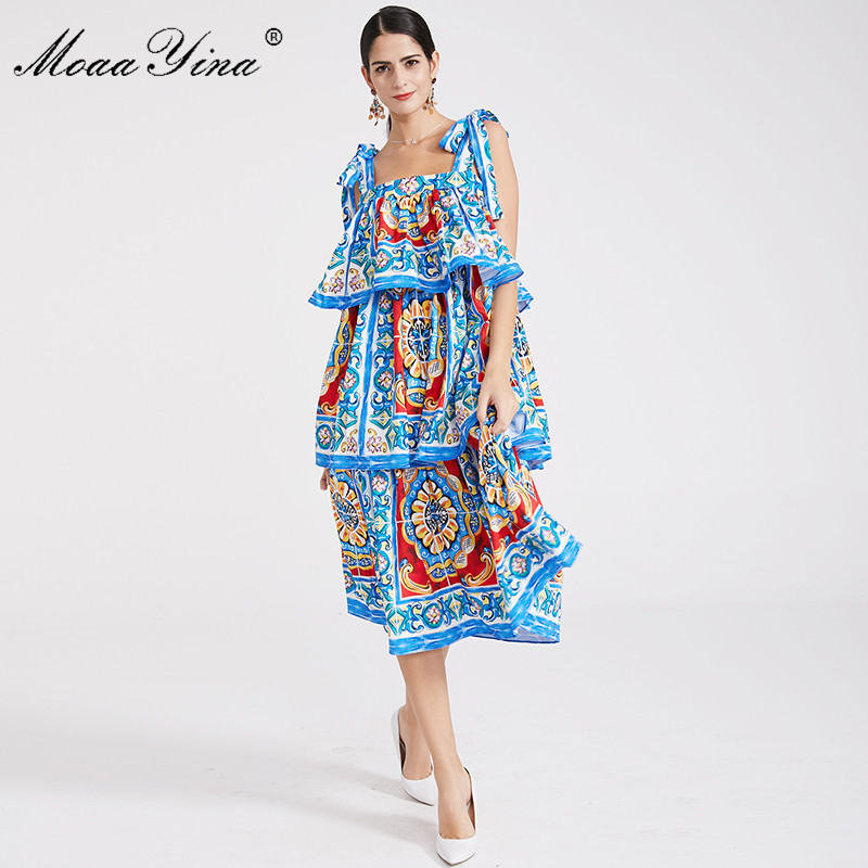 Verano Espagueti Mujeres Playa Cascada Espalda Azul Correa Moaayina Volante Diseñador Descubierta Moda Pasarela Vestido Impresión Bohemia ZxSYIqX