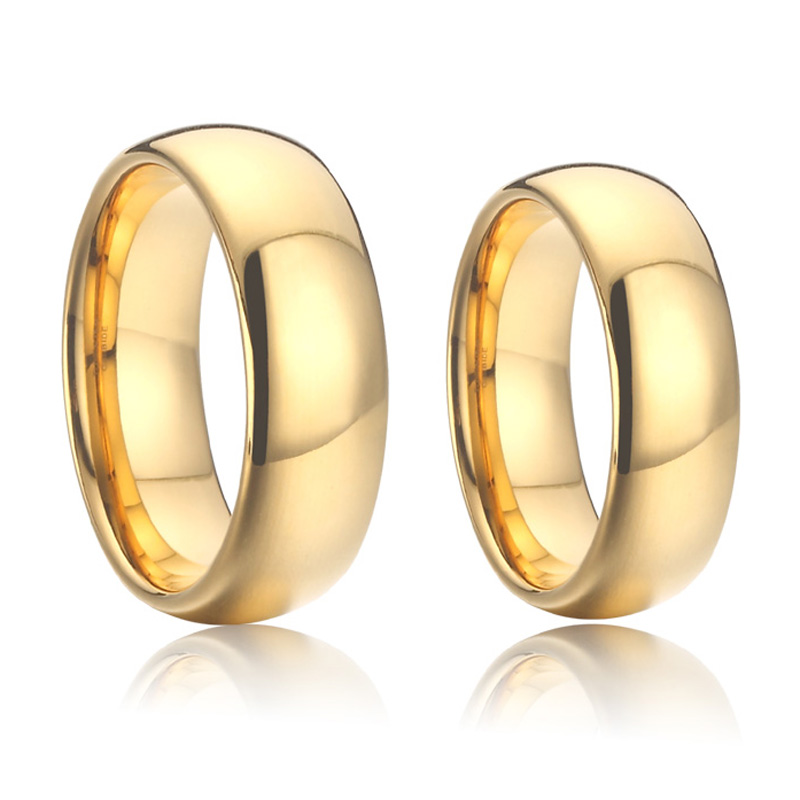 Anel de carboneto de tungstênio 100% puro, para casais e mulheres, 4/6/8mm, cor dourada banda de casamento e senhoras