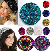 Lady Stretch Crochet Shining Sequin Beret Hat Party Beanie Chic Cap Club  Dance(China) ade7221a6abe