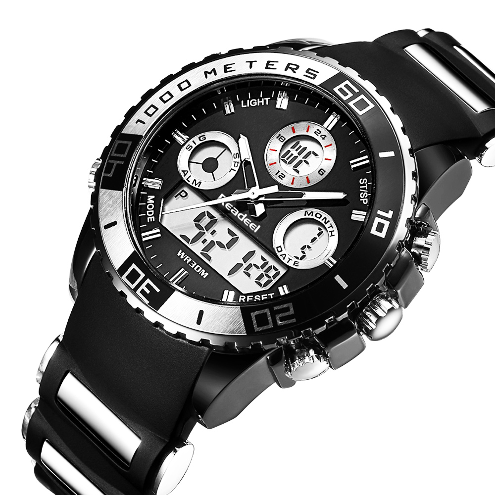 Men's Sport Watch Quartz LED Analog Waterproof + Chronograph 1