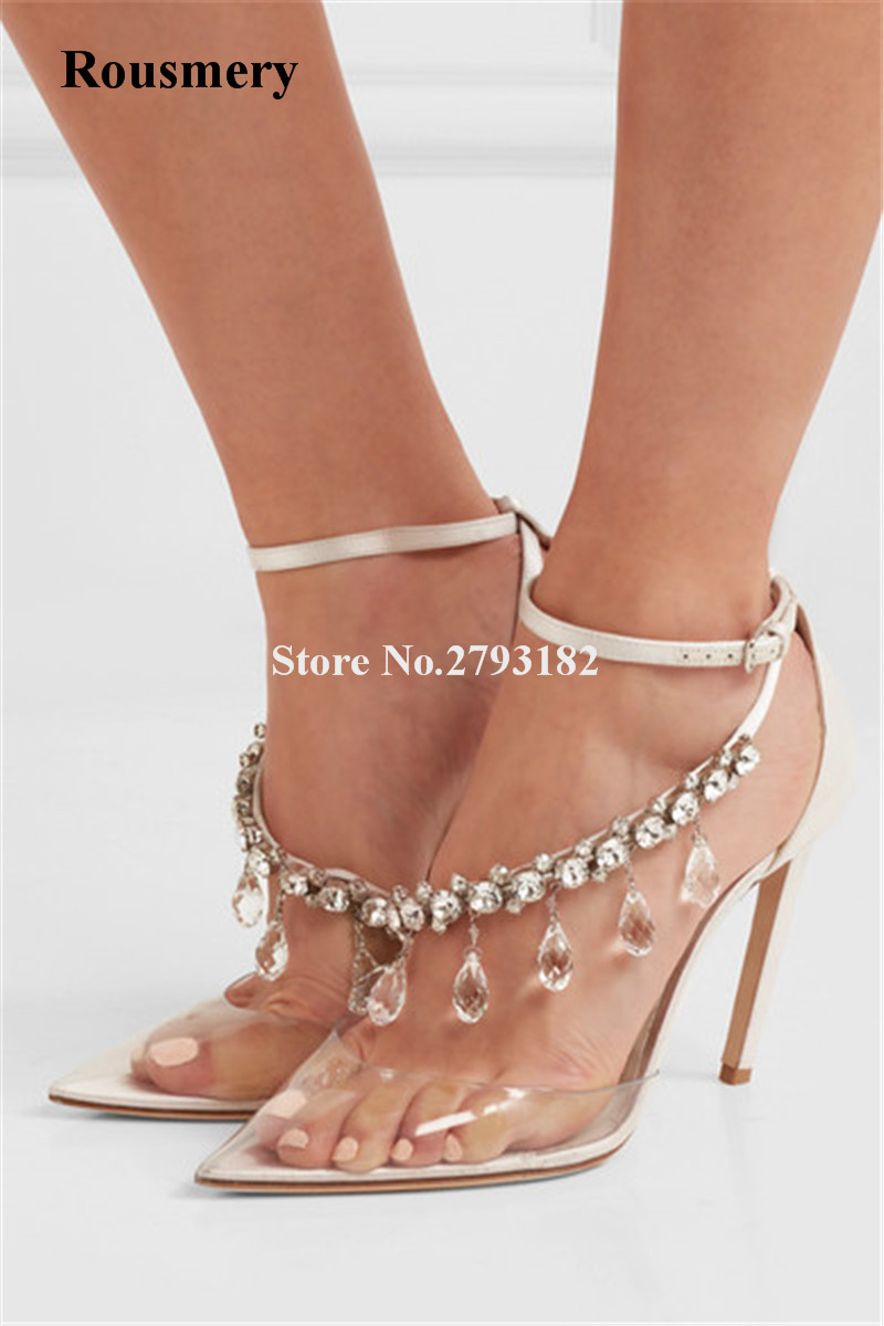 New Design Women Fashion Pointed Toe Rhinestone PVC Pumps Ankle Strap Crystal Transparent High Heels Wedding Shoes women classical design silver pointed toe transparent pumps ankle buckle design 12cm high heels formal dress shoes
