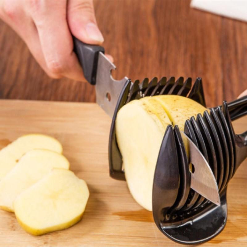 Kuchyňské nářadí Ovoce Zeleninové pomůcky Držák na rajčata Slicer Guide Bramborová cibule Citronová řezačka Oranžové drtiče Kráječe