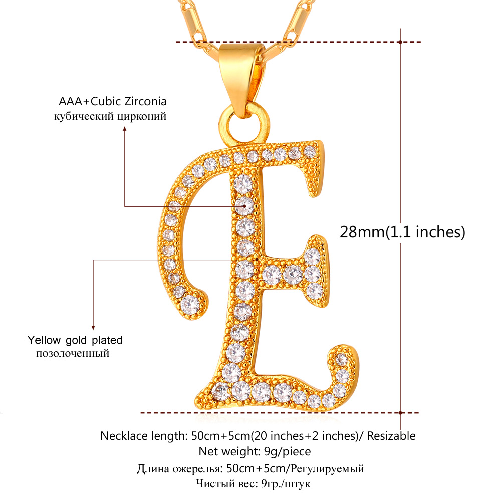 U7 initial name necklace alphabet e letter gold color aaa cubic u7 initial name necklace alphabet e letter gold color aaa cubic zirconia jewelry necklaces pendants for women p698 in pendant necklaces from jewelry aloadofball Choice Image