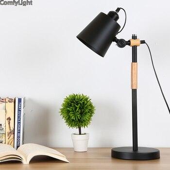 LED E27 Lampada Da Tavolo in ferro del progettista Paralume notte Sul Comodino Scrivania luci Moderne Lampade Libro E27 110 V 220 V Lettura apparecchio di illuminazione