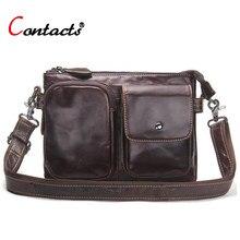 0a42920034b5 CONTACT'S натуральная кожа мужские портфели мужские сумки на плечо деловые  мужские сумки через плечо дизайнерские кожаные сумки .