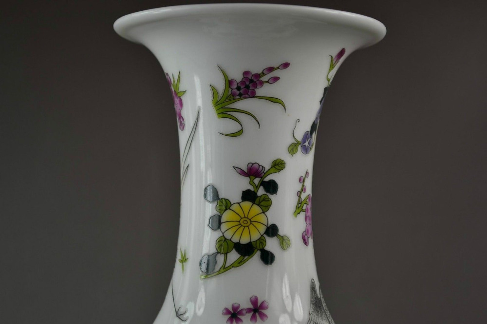 Chinese porselein noctilucence vogels crane hok zun cup fles pot