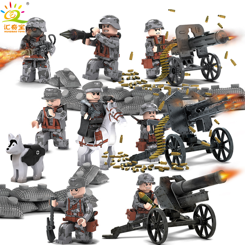 8PCS/Set Military Figures With Weapons Building Blocks Set Compatible Legoed Soldiers ww2 Army Bricks Gift Toys For Children Boy military city police swat team army soldiers with weapons ww2 building blocks toys for children gift