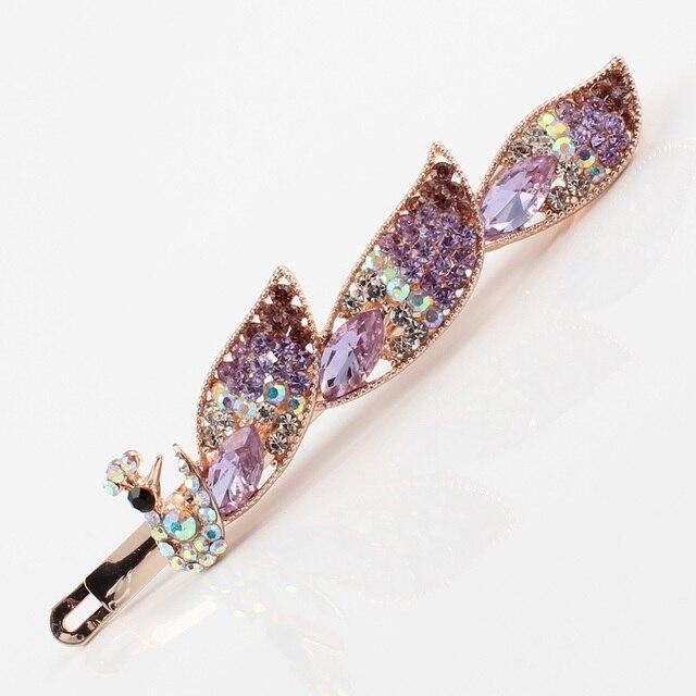 Hair clip women jewelry peacock bird brand hair accessories rhinestones  white pink purple hair ornaments hair baa1e7810ac9