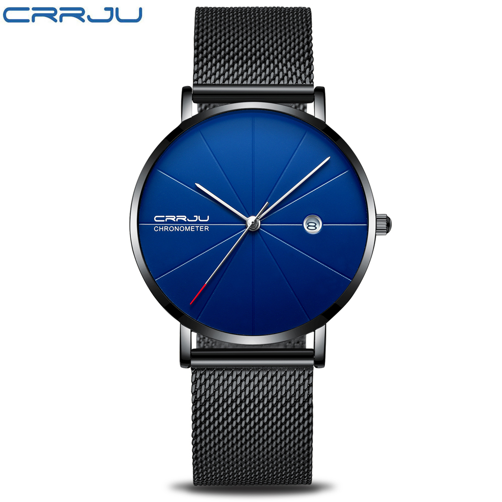 Relogio Masculino CRRJU Топ Элитный бренд Аналоговые Спорт наручные часы Дисплей Дата Для мужчин кварцевые часы Бизнес часы Для мужчин часы