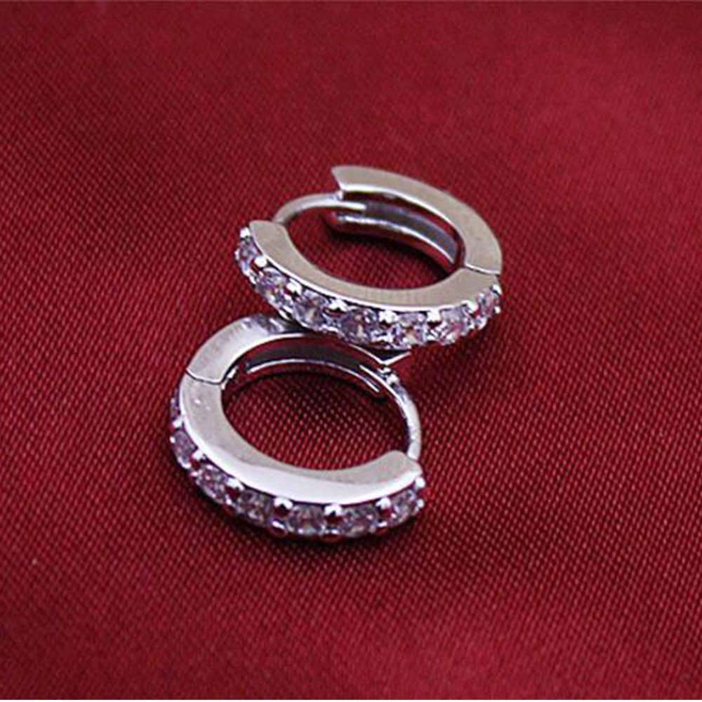 100% Plata de Ley 925 pendientes brillantes de una fila de circonio para mujer joyería de moda femenina regalo de cumpleaños