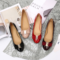 Ballet flat shoes new leather round head shallow bow versatile single shoes women's leather bow design