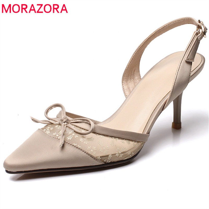 MORAZORA new style top quality women pumps elegant slik pointed toe summer shoes simple party wedding shoes high heels shoes fletite top quality elegant embroidery 8 color women pumps pointed toe thin high heels 2018 new fashion luxury women shoes brand