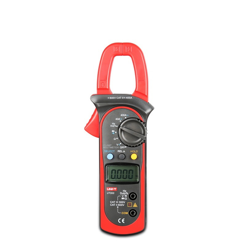 Free Shipping UNI-T UT203 Digital Clamp Multimeter Ohm DMM DC AC Current Voltmeter 400A multimeter digital professional uni t ut203 ut 203 digital clamp multimeter 3 3 4 ohm dmm dc ac current voltmeter 40a 400a