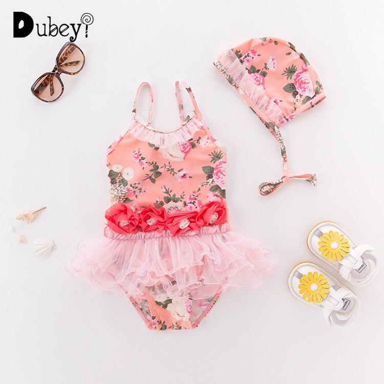 12-24M Princess Lace Ruffles Baby Girl Swimwear+Cap Flower Toddler Girl One Piece Swimsuit Infant Bathing Tutu