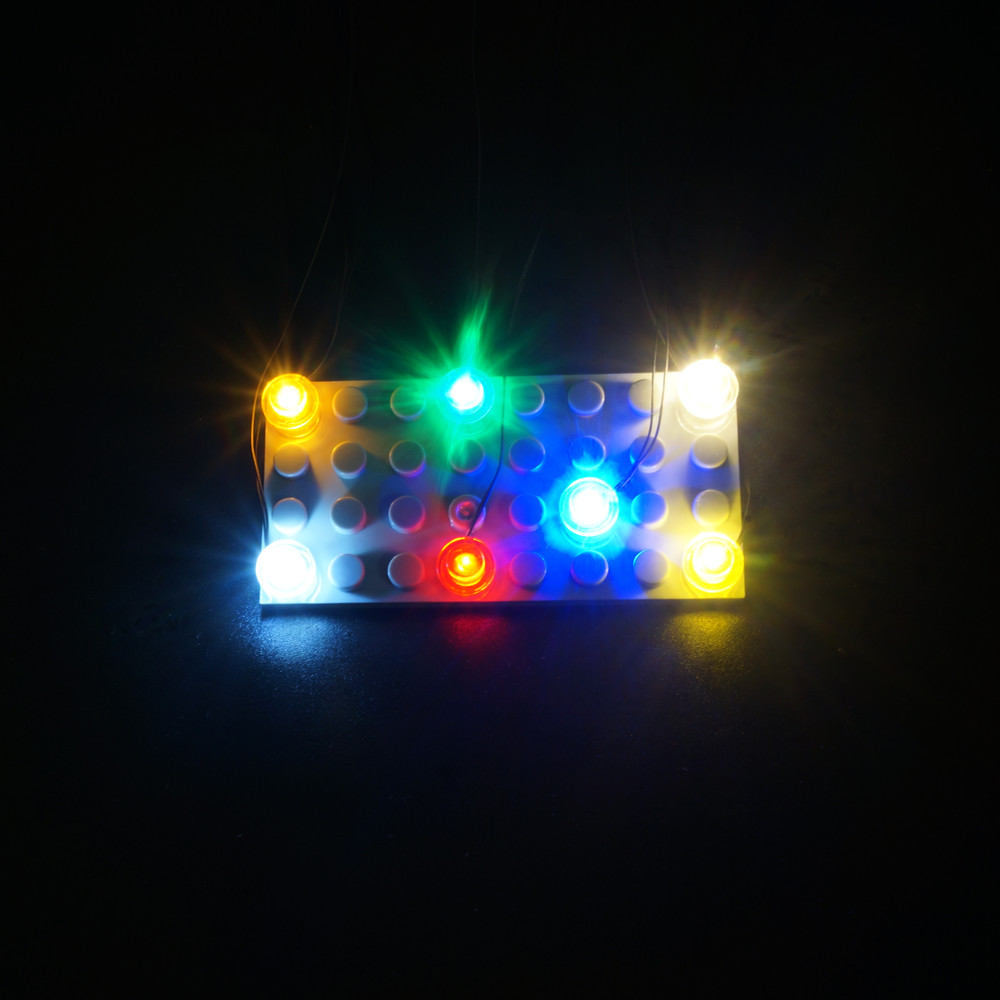 Kyglaring DIY Custom Led Bit Light With 1x1 Round Plate For Lego Building Block City Street