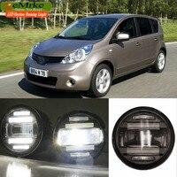 eeMrke Car Styling For Nissan Note 2006 2013 EU 2in1 Multifunction LED Fog Lights DRL With Lens Daytime Running Lights