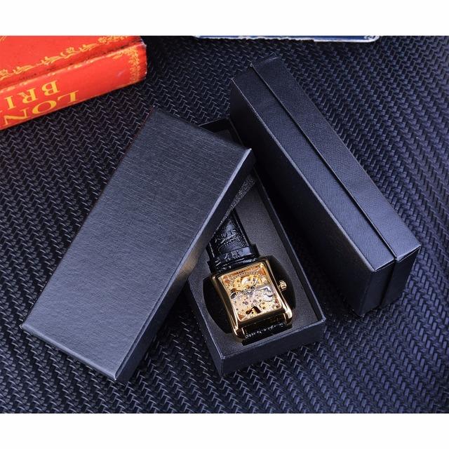 Retro Casual Series Rectangle Dial Design Golden Pattern Skeleton Watch