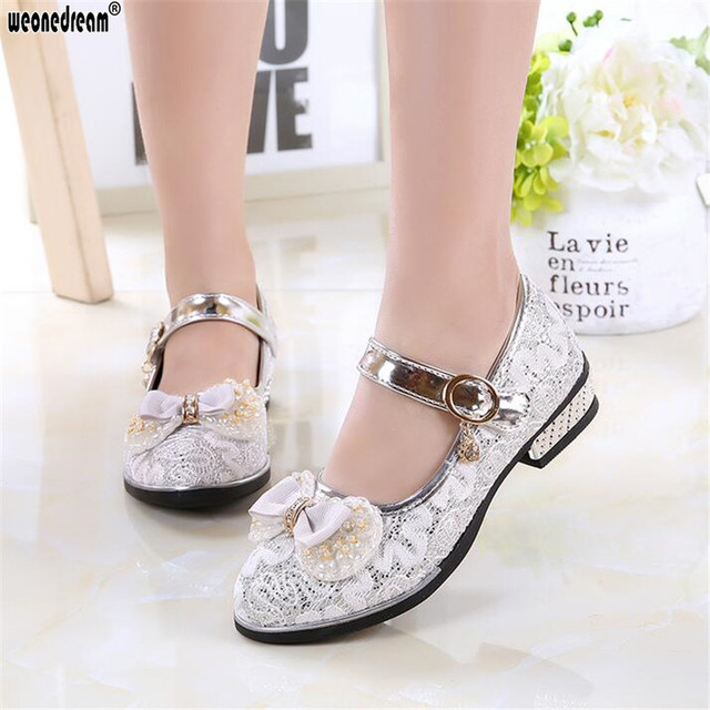 WEONEDREAM Pink Girls Shoes 2018 Lovely PU Leather Bow Flower Girl Wedding Fashion Girls Dress Shoes Princess Shoes for Kids