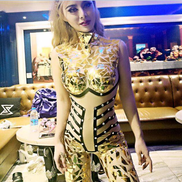 097d242cfed7 New Style Sparkly Gold Sequins Jumpsuit Sexy Glisten Crystals Costume  Evening Outfit Party One-Piece Design Stage Show Rompers