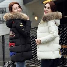 Новый 2016 зимняя куртка женщины большой мех военной печати парки вниз свободная посадка пальто средней длины pathchwork плюс размер snowear MA525
