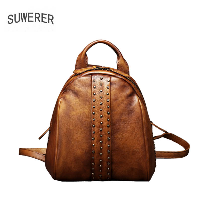 2019 New Women Genuine leather backpack Leisure travel backpack  brand leather bag fashion Handmade leather rivet backpack2019 New Women Genuine leather backpack Leisure travel backpack  brand leather bag fashion Handmade leather rivet backpack