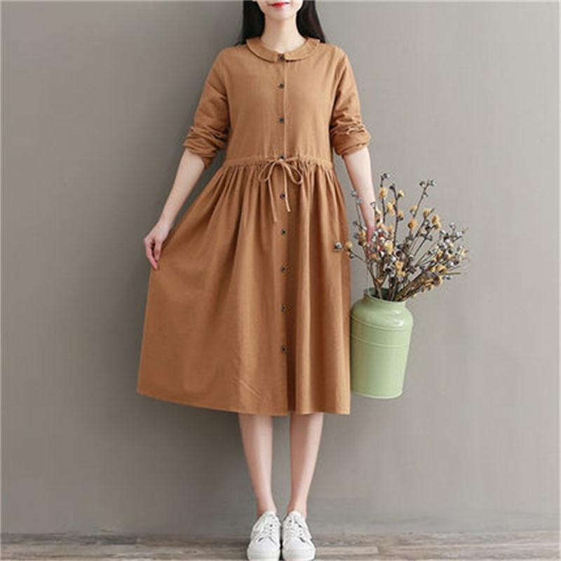 Pregnant women autumn dress long long-sleeved shirt maternity dress autumn and winter new cotton and linen shirt fashion women s autumn winter v neck long sleeved cotton waist dress black size l