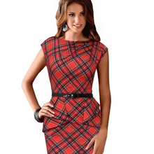 New Fashion Summer Women Dress Sleeveless Belted Tartan Ruched Tunic Bodycon Sheath Women Dress
