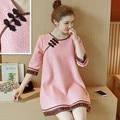2017 de alta calidad dress nueva primavera de encaje de maternidad las mujeres embarazadas falda floja dress en el párrafo largo retro cheongsam capa