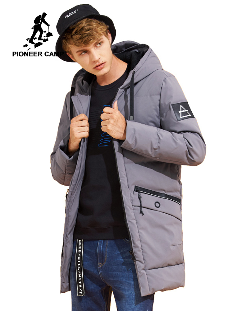 6db4aa50cced2 Pioneer Camp new style winter warm duck down jacket men brand clothing long  hooded fashion down coat male grey black AYR705311