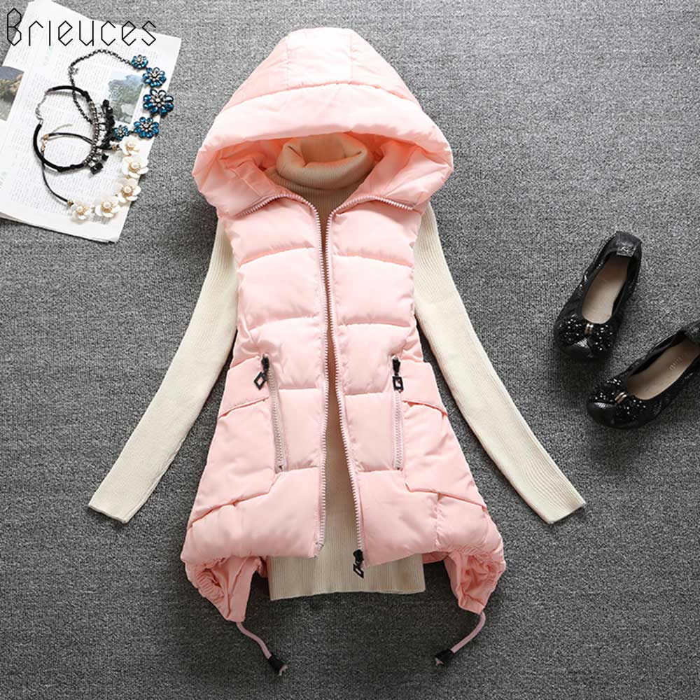 Brieuces 2018 New Winter Vest women Casual Autumn Winter Sleeveless Waistcoat Hooded Long Warm Cotton Padded Top Vest Jacket