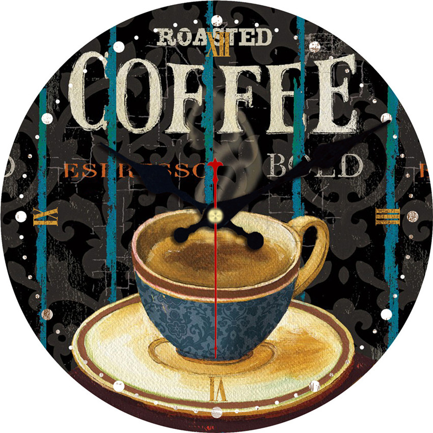 Coffee Latte Design Large Wall Clock Silent Living Room Wall Decor Saat Home Decoration Watch Wall