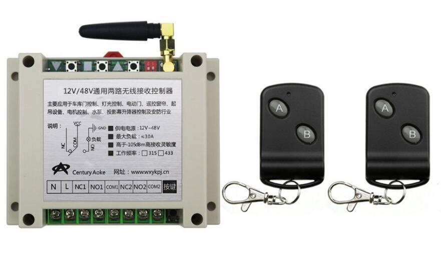 DC12V 24 В 36 В 48 В 10A 2ch rf Беспроводной Дистанционное управление переключатель передатчик с двумя кнопками приемник для приспособления ворота га...