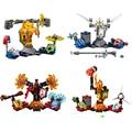 Lepin 4 Pçs/lote Nexo Cavaleiros Minifigures Axl Lance Final Geral Magmar Flama Building Blocks Brinquedos Compatível com LEGO