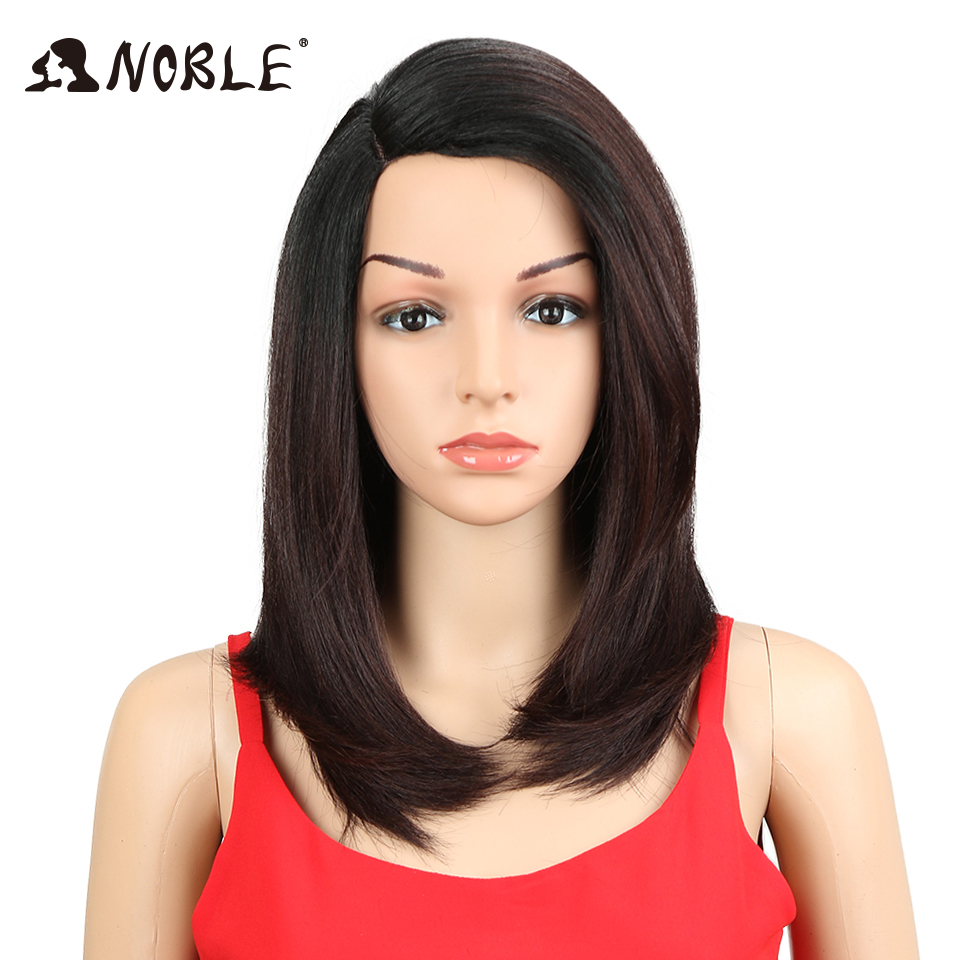 Noble Synthetic Lace Front Wig 18inch Silky Straight Middle Part Glueless Heat Resistant Fiber Hair Wigs For Black Women