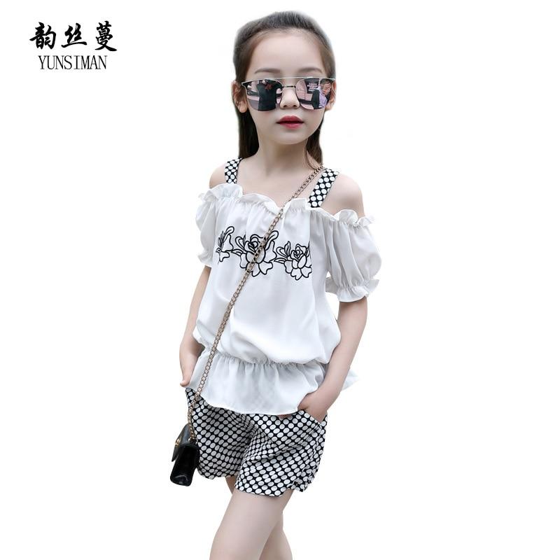 Two Pieces Set Girls Suit Flower Print Off Shoulder Chiffon Shirt Girls Red Plaid Shorts Summer Children Clothing 3 - 12 Y 5C99