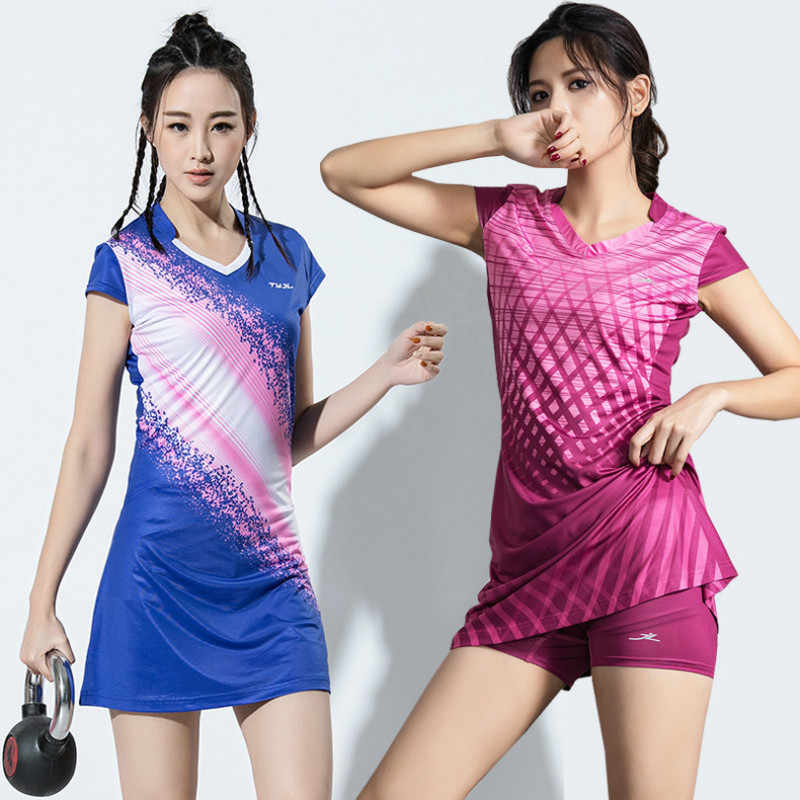 Women Girls Sport Dress with Safety Pants Ladies Tennis Dresses With Shorts Badminton Dress Clothes Gym Running Sportswear