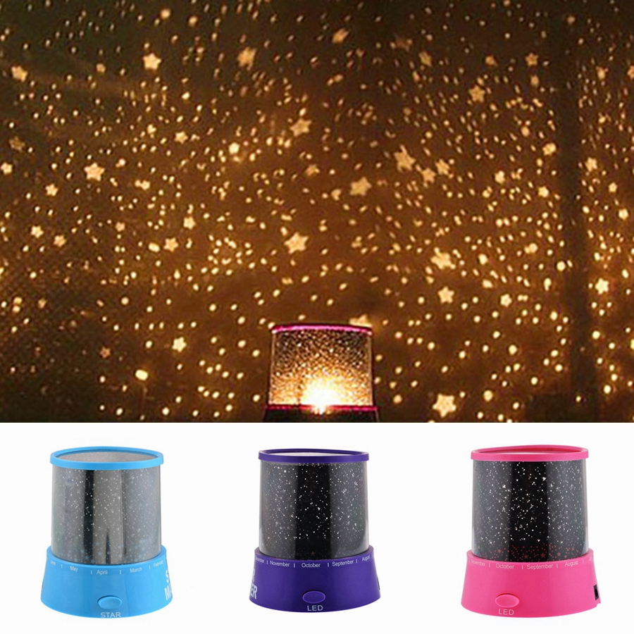 DOZZIOR LED Night Light Projector Sky Star Moon Master Children Kids Baby Romantic Colorful Decoration Battery Projection Lamp