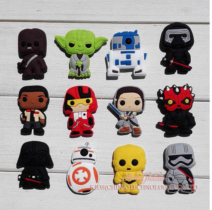 Free Shipping Star War 12pcs/lot Shoe Decoration/shoe Charms/shoe Accessories For Clogs Kids School Gift Fit Wristband