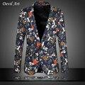 Мужская Цветочный Блейзер Модного Бизнеса Марки Одежда Blazer Куртка Тонкий Весте Homme Mariage Бесплатная Доставка Плюс Размер: 5XL 6XL 9867