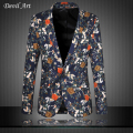 Mens Floral Blazer Fashion Business Brand Clothing Blazer Jacket Slim Veste Homme Mariage Free Shipping Plus Size:5XL 6XL 9867