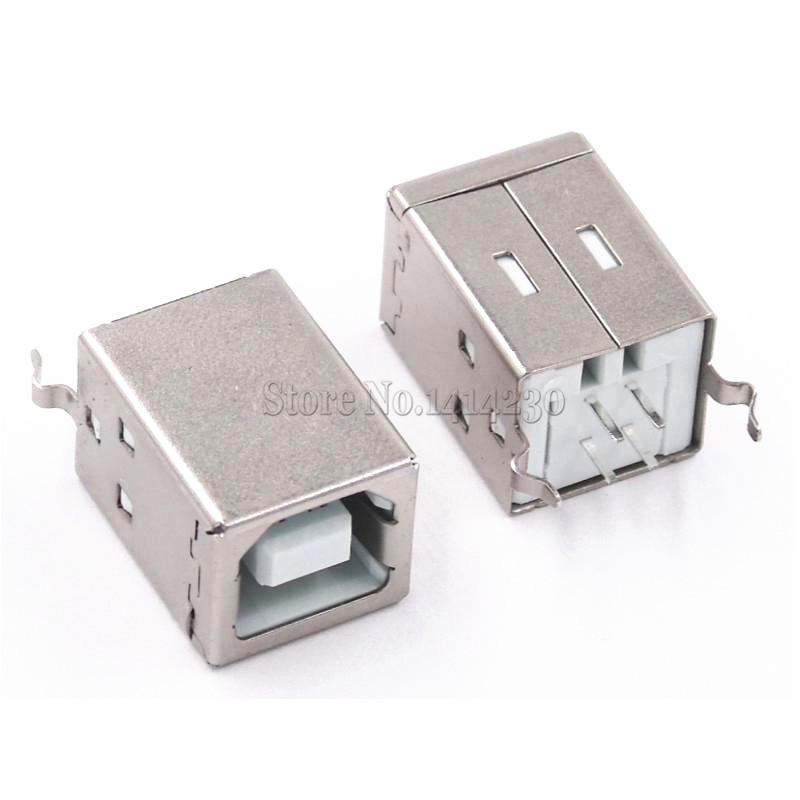 10Pcs Square USB Socket USB B Type Female 180 Degree PCB Welding Parent Connector For Printer Data10Pcs Square USB Socket USB B Type Female 180 Degree PCB Welding Parent Connector For Printer Data