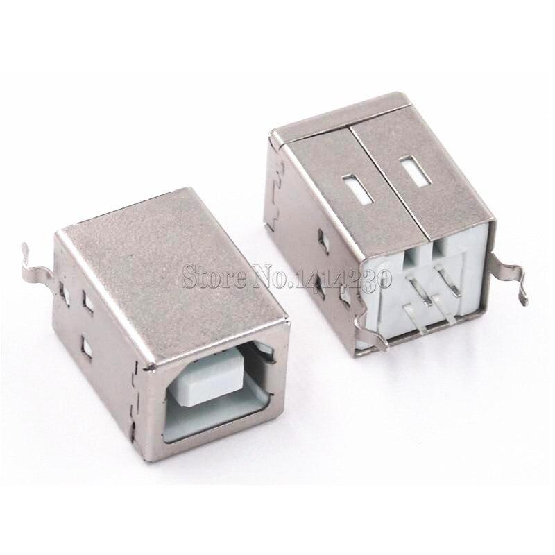 10Pcs Square USB Socket USB B Type Female 180 Degree PCB Welding Parent Connector For Printer Data