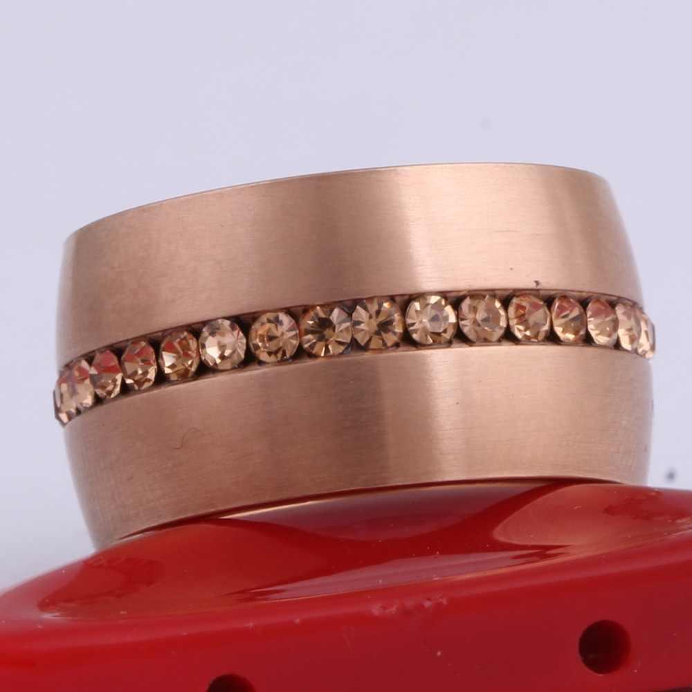 Anéis de aço para mulheres clássico, 14mm, largura, ouro rosa, aço inoxidável, banhado com cristal de rosa, para mulheres