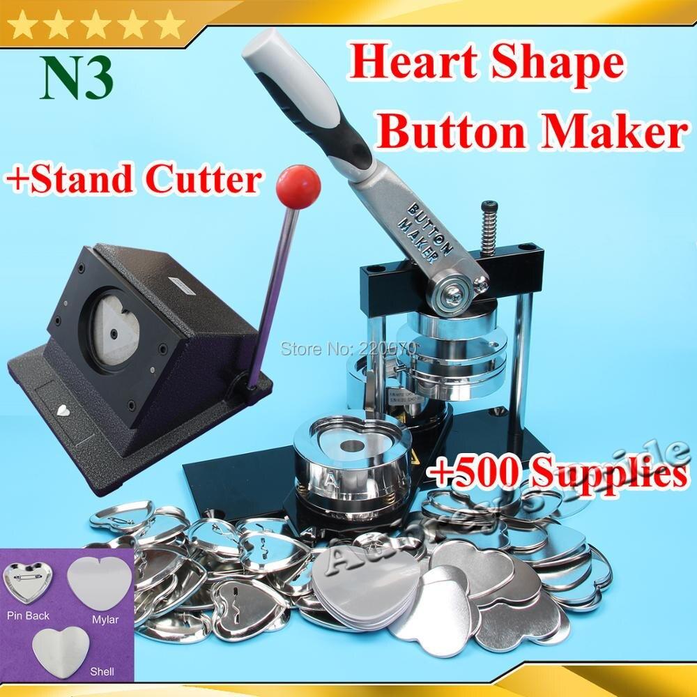 شحن مجاني N3 القلب شكل 57x52 ملليمتر شارة زر صانع آلة + قوالب + حامل القاطع + 500 مجموعات Metal Pinback لوازم-في حزمة من المنزل والحديقة على  مجموعة 1